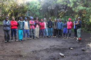 The team of 17 (minus 1) porters that took us to the top of Mt. Kilimanjaro and back.
